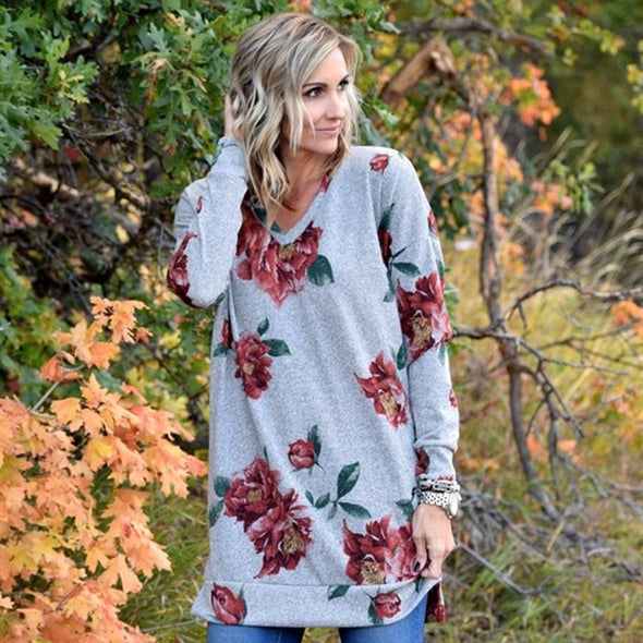 Luxe Floral V-Neck Sweater