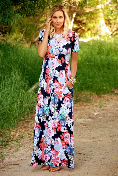 3Brunettes Luxe Short Sleeve Floral Maxi Dress