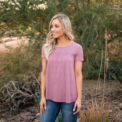 3Brunettes Pinstripe Pleated Tee