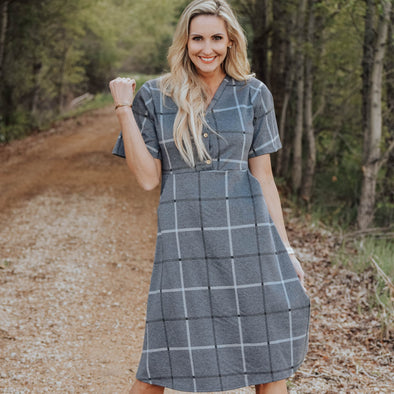 3Brunettes Plaid V-Neck Midi