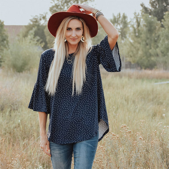 3Brunettes Polka Dot Ruffle Sleeve Top
