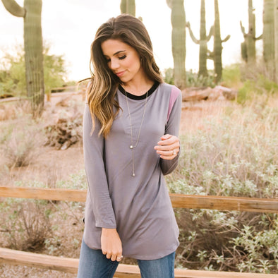3Brunettes Shoulder Colorblock Top