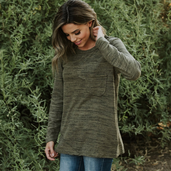 3Brunettes Soft Heathered Pocket Top