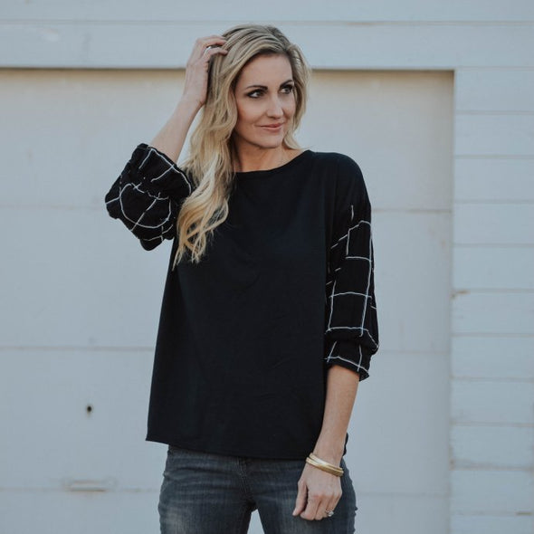 Soft Plaid Contrast Top