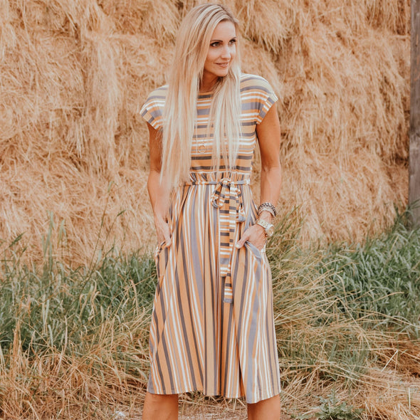3Brunettes Stripe & Bow Dress