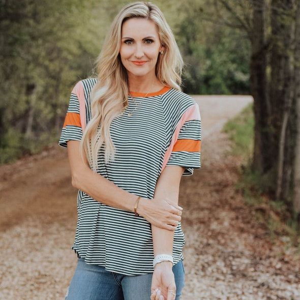 3Brunettes Stripe Colorblock Accent Top