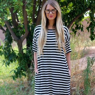 Stripe Midi Dress + Pockets