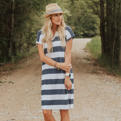 3Brunettes Stripe V-Neck Dress