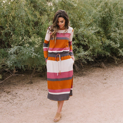 3Brunettes Stripe Waist Tie Dress
