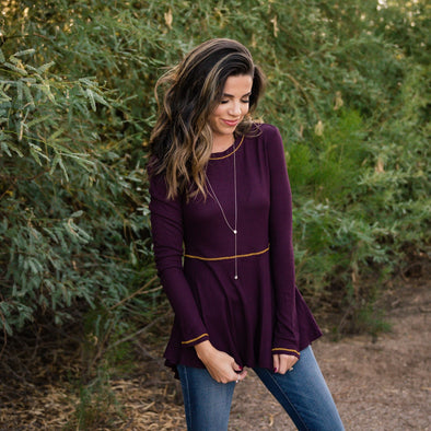 3Brunettes Thermal Tunic with Contrast Stitching