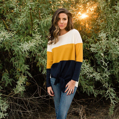 3Brunettes Waffle Knit Colorblock Sweater