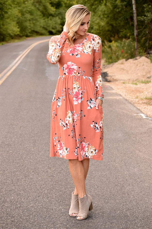 Winter High Waist Floral Midi