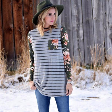 Winter Stripe + Floral Long Sleeve Top