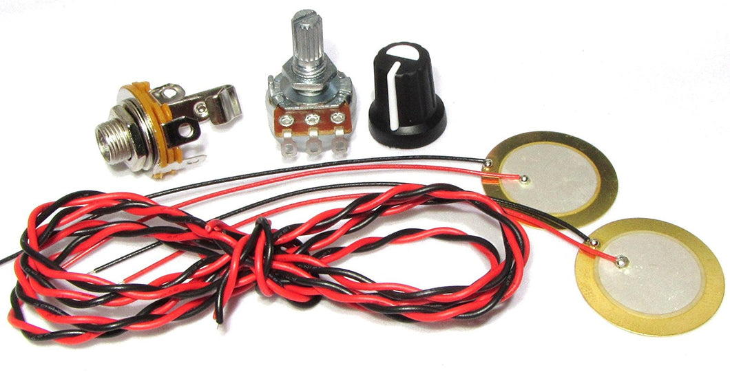 27mm Piezo Pickup Kit for Cigar Box Guitars & Acoustic Instruments - DIY Do it Yourself - Components include: 1/4