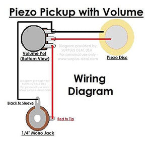 "27mm Piezo Pickup Kit for Cigar Box Guitars & Acoustic Instruments - DIY Do it Yourself - Components include: 1/4"" Mono Jack, Piezo Disc, 500K Volume Pot & Knob, Leads"