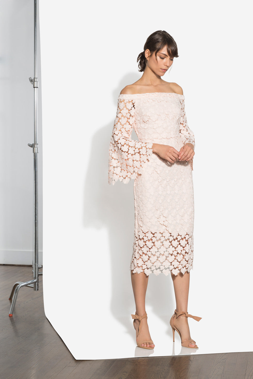 Bell Sleeve Lace Midi Dress