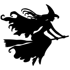 12.8cm*11.6cm Witch on Broomstick Car Sticker