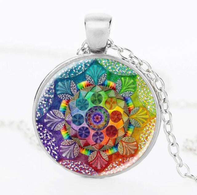 SUTEYI Fashion Handmade Henna Yoga Necklace Om Symbol Buddhism Mandala Necklace Pendant Art Glass Necklaces Jewelry For Women