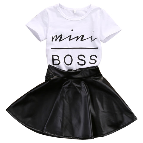 Mini Boss Tops + Leather Skirt
