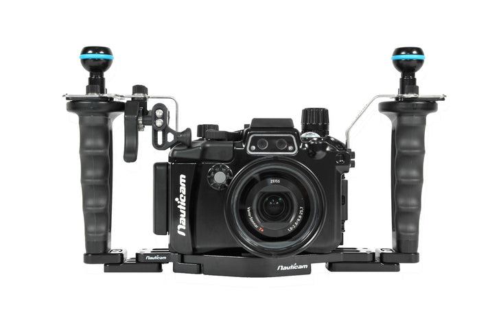 NA-RX100V Pro Package Housing for RX100V including Flexitray, Right Handle, Ball Mounts, and Shutter Release Extension