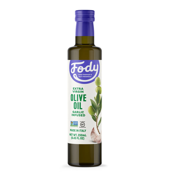 Low FODMAP <br><b><big>Garlic Infused Olive Oil </big></b><br>Made in Italy <br><small>Extra-Virgin, Non-GMO</small>