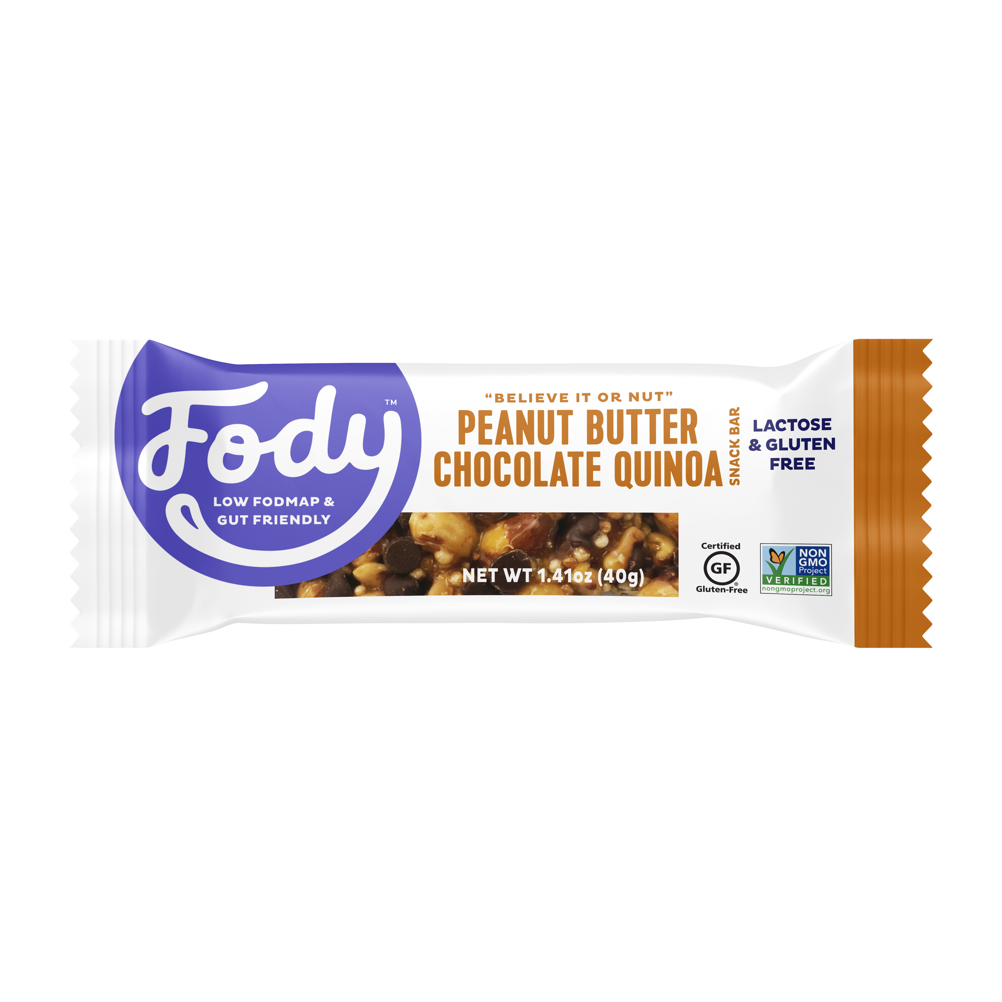 Low FODMAP <br><b><big>Peanut Butter <br>Chocolate Quinoa Bars </big></b><br>(Box of 12) <br><small>Lactose & Gluten Free</small>