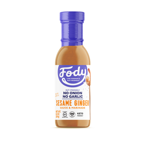 Low FODMAP <br><b><big>Sesame Ginger <br>Sauce & Marinade </big></b><br><small>No Onion, No Garlic, Lactose & Gluten-Free!</small>