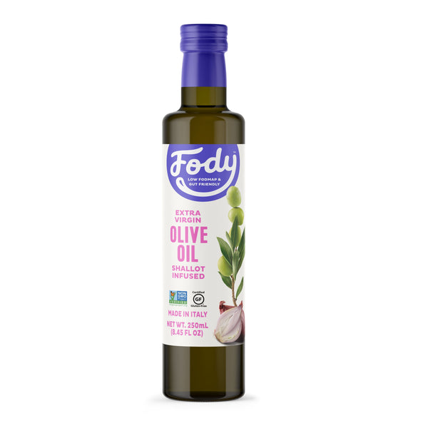 Low FODMAP <br><b><big>Shallot Infused Olive Oil </big></b><br>Made in Italy <br><small>Extra-Virgin, Non-GMO</small>