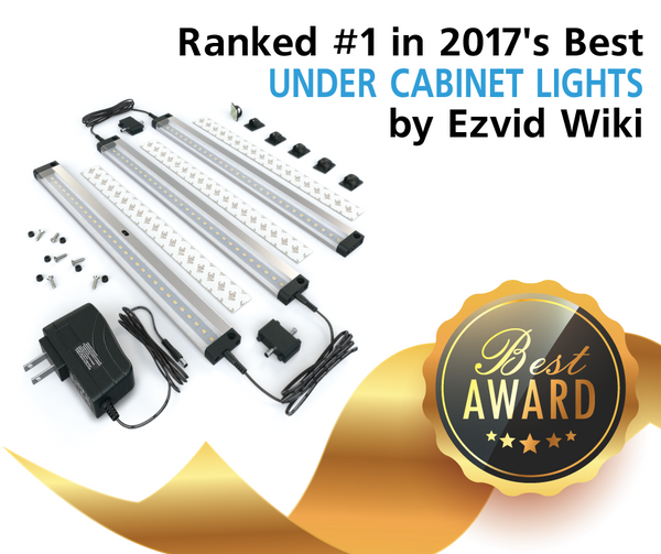 EShine 3 Panel LED Lighting Kit with Hand Wave Activation has been Ranked #1 by Ezvid Wiki in 2017's Best Under Cabinet Lights