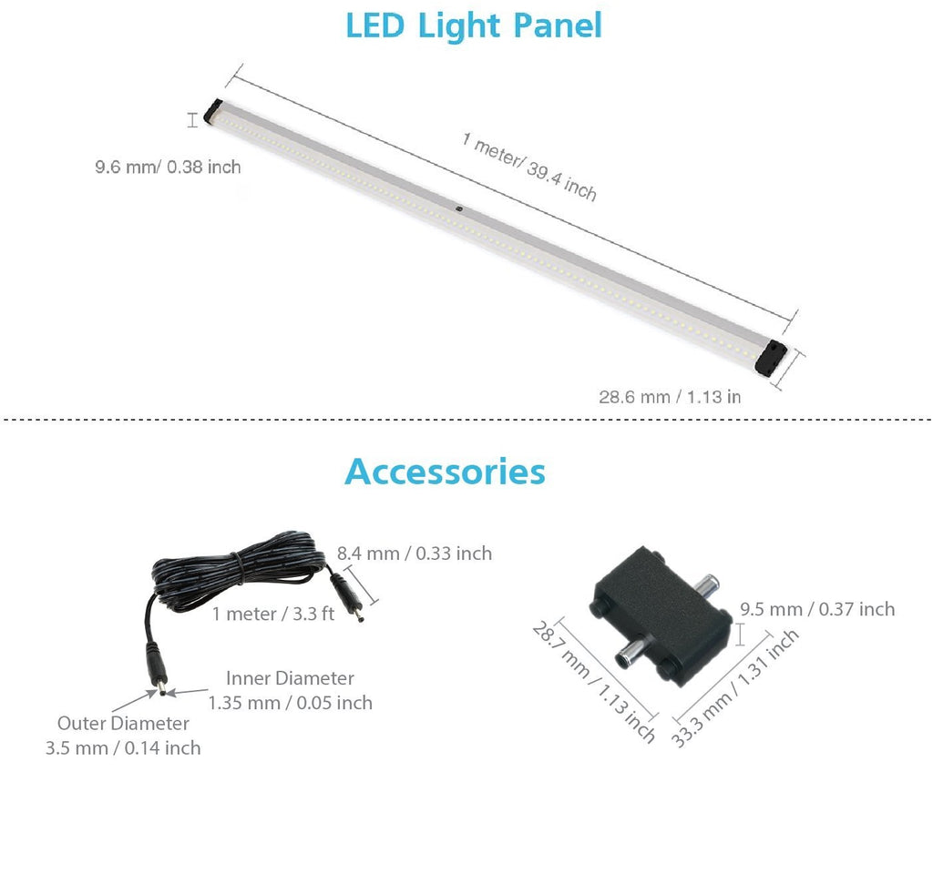 EShine | EShine 40 inch LED Under Cabinet Lighting Bar Panel with Accessories (No Power Supply Included) - NO IR Sensor