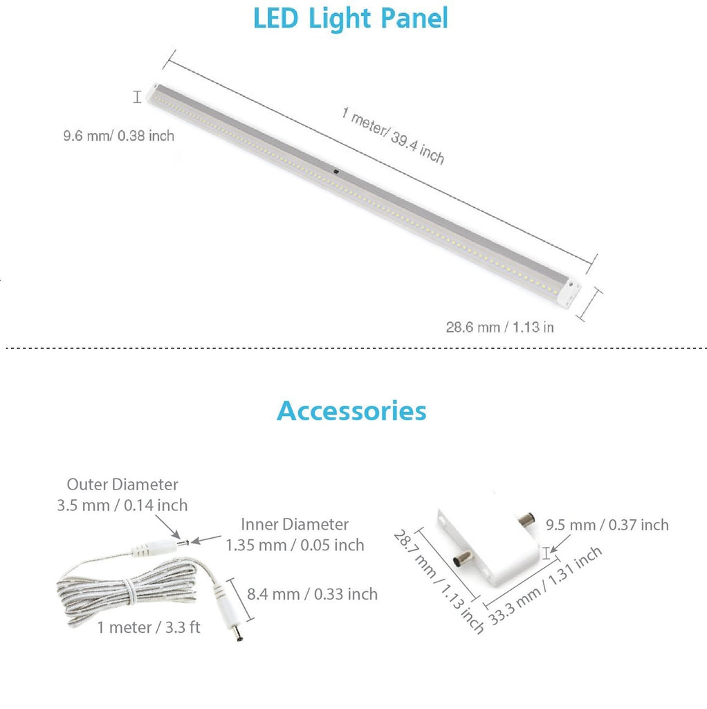 EShine | EShine White Finish 40 inch LED Under Cabinet Lighting Bar Panel with Accessories (No Power Supply Included) - NO IR Sensor