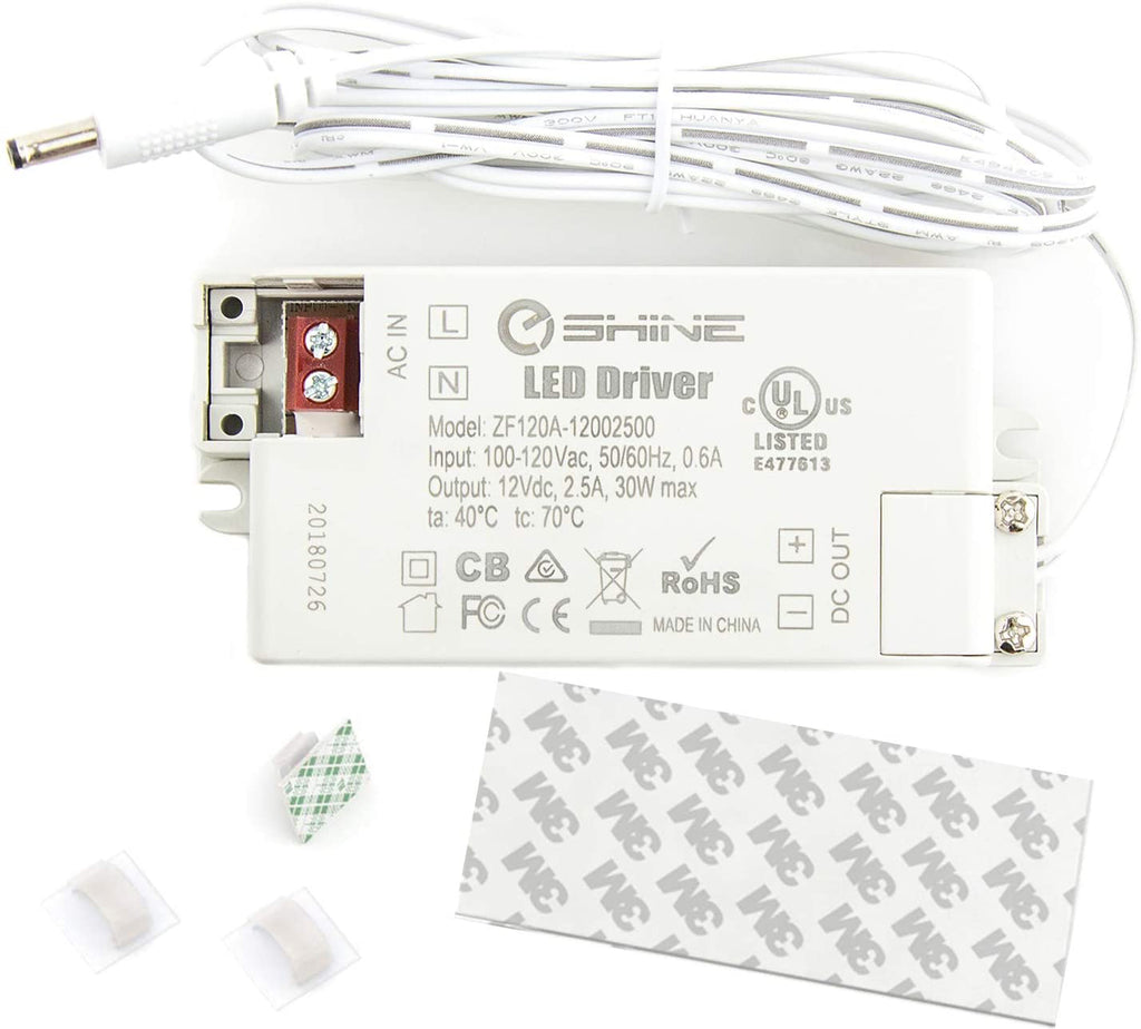 EShine | 12V DC 30 Watt 2.5A Power Transformer for LED lighting - Hardwire Kit