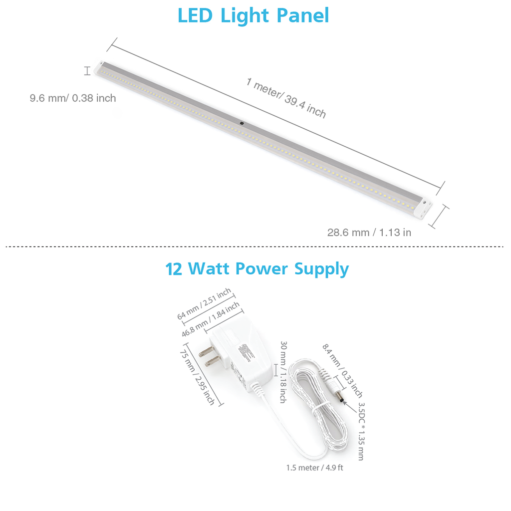 Le Dimmable Under Cabinet Lighting 3 Panel Deluxe Kit: EShine White Finish Extra Long 40 Inch LED