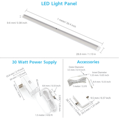 EShine | EShine White Finish 3 Extra Long 40 inch Panels LED Dimmable Under Cabinet Lighting - Deluxe Kit