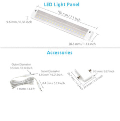 EShine | White Finish 7 inch LED Under Cabinet Lighting Panel - NO IR Sensor - with Accessories ( No Power Supply Included)