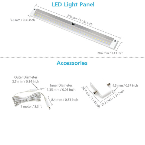 EShine | [New] White Finish 12 inch - with IR Sensor - LED Dimmable Bar (No Power Supply Included)