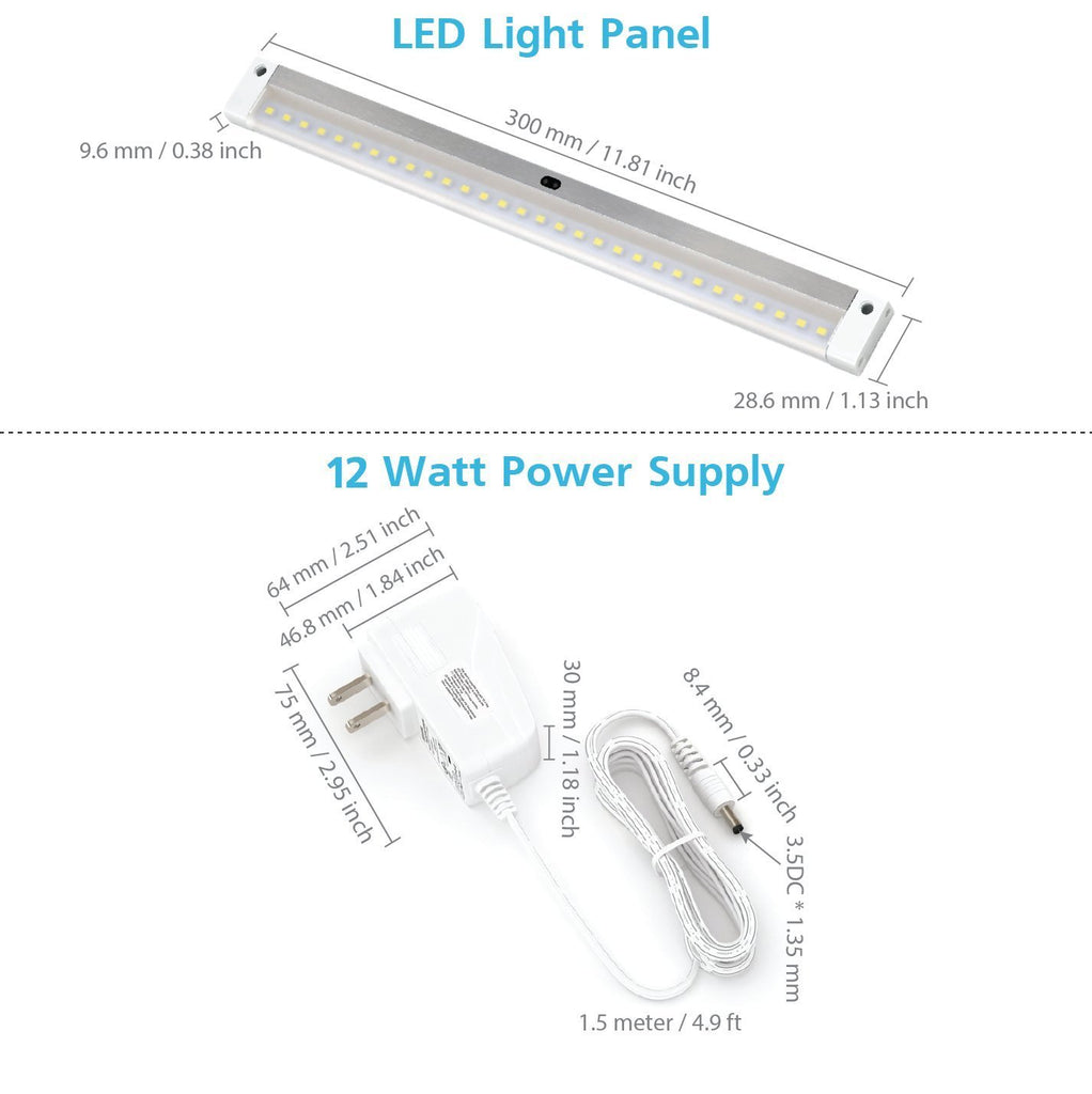 [New] White Finish 12 inch Panel LED Dimmable Under Cabinet Lighting - Deluxe Kit