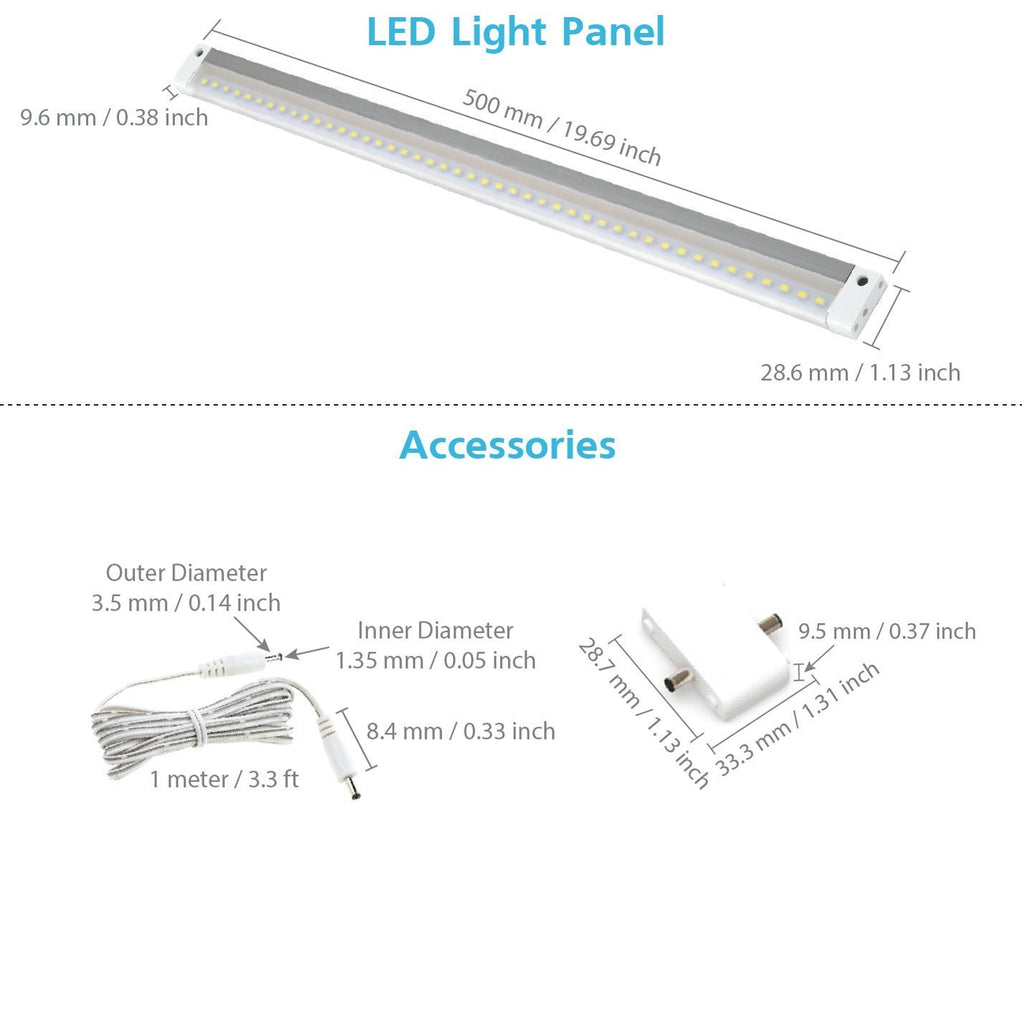 EShine | White Finish Extra Long 20 inch - NO IR Sensor - LED Dimmable Panel (No Power Supply Included)