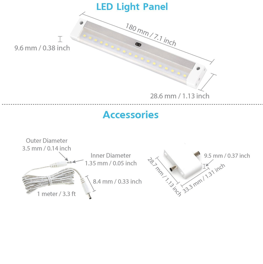 EShine | EShine White Finish EShine 7 inch LED - with IR sensor - Dimmable Under Cabinet Lighting Panel with Accessories (No Power Supply Included)