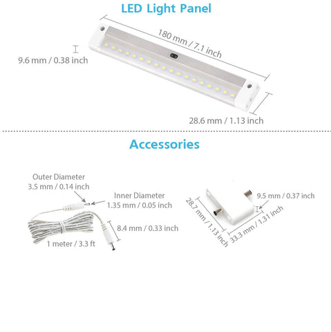 EShine | [New] White Finish EShine 7 inch LED - with IR sensor - Dimmable Under Cabinet Lighting Panel with Accessories (No Power Supply Included)