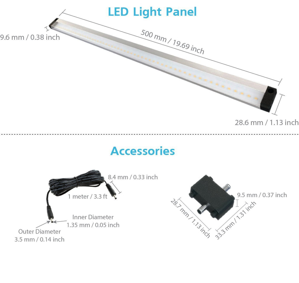 eshine extra long 20 inch no sensor led under cabinet lighting