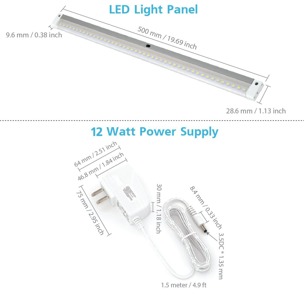 Le Dimmable Under Cabinet Lighting 3 Panel Deluxe Kit: [New] White Finish Extra Long 20 Inch LED