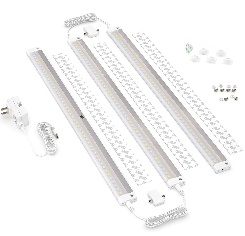 [New] White Finish 3 Extra Long 20 inch Panels LED Dimmable Under Cabinet Lighting - Deluxe Kit