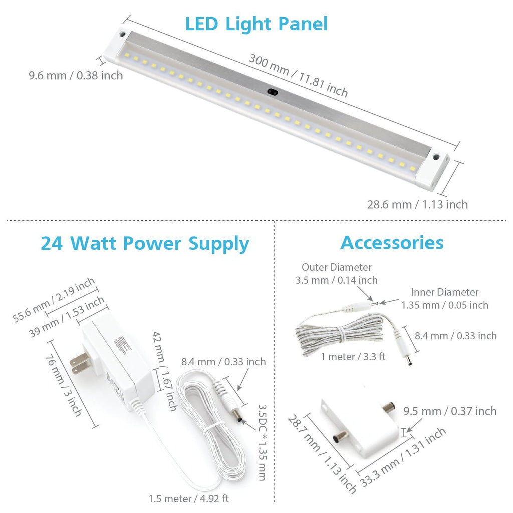 Le Dimmable Under Cabinet Lighting 3 Panel Deluxe Kit: EShine White Finish 6 12 Inch Panels LED Dimmable