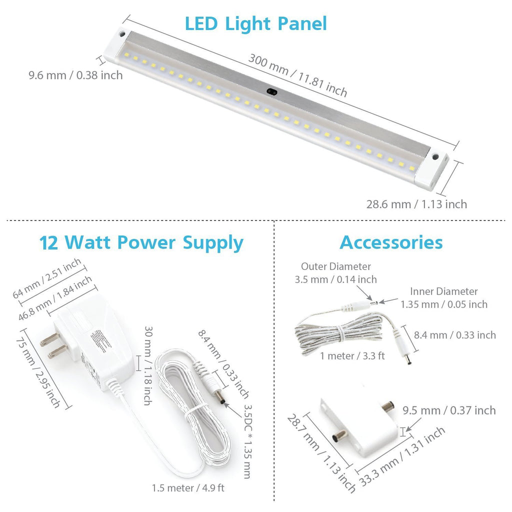 [New] White Finish 3 12 inch Panels LED Dimmable Under Cabinet Lighting - Deluxe Kit