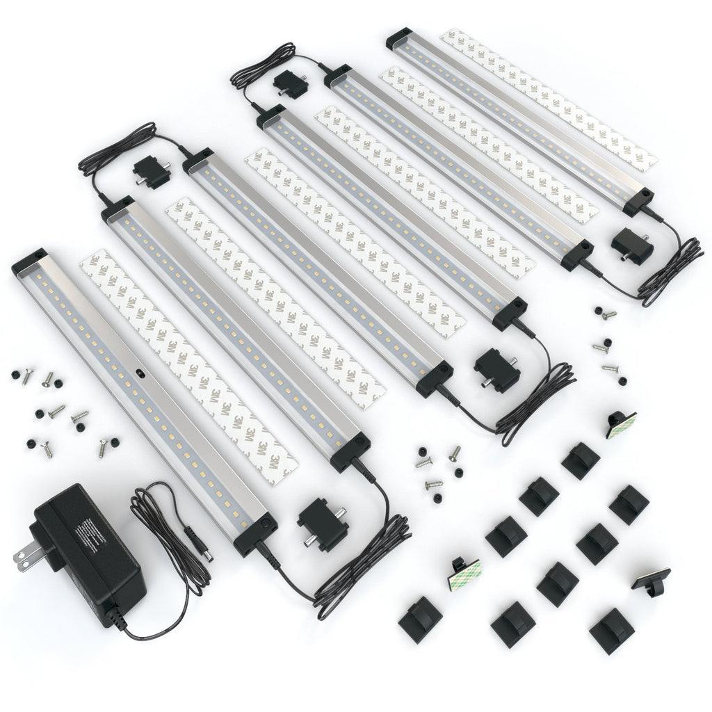 [New] 6 12 Inch Panels LED Dimmable Under Cabinet Lighting   Deluxe Kit