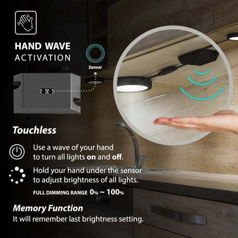 EShine Black Matte Under Cabinet Puck Lights with Hand Wave Sensor – Dimmable – Pack of 6