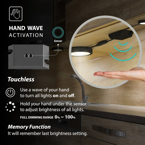 EShine Black Matte Under Cabinet Puck Lights with Hand Wave Sensor – Dimmable – Pack of 3