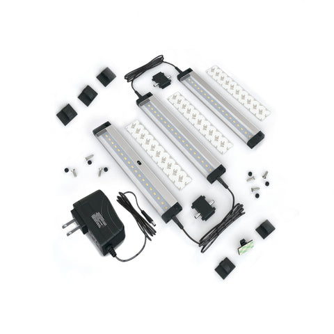 EShine 3 Panels 7 inch Compact Size LED Dimmable Under Cabinet Lighting - Deluxe Kit