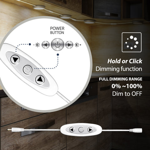 EShine Under Cabinet Puck Lights with Dimmer Switch – Dimmable – Pack of 6